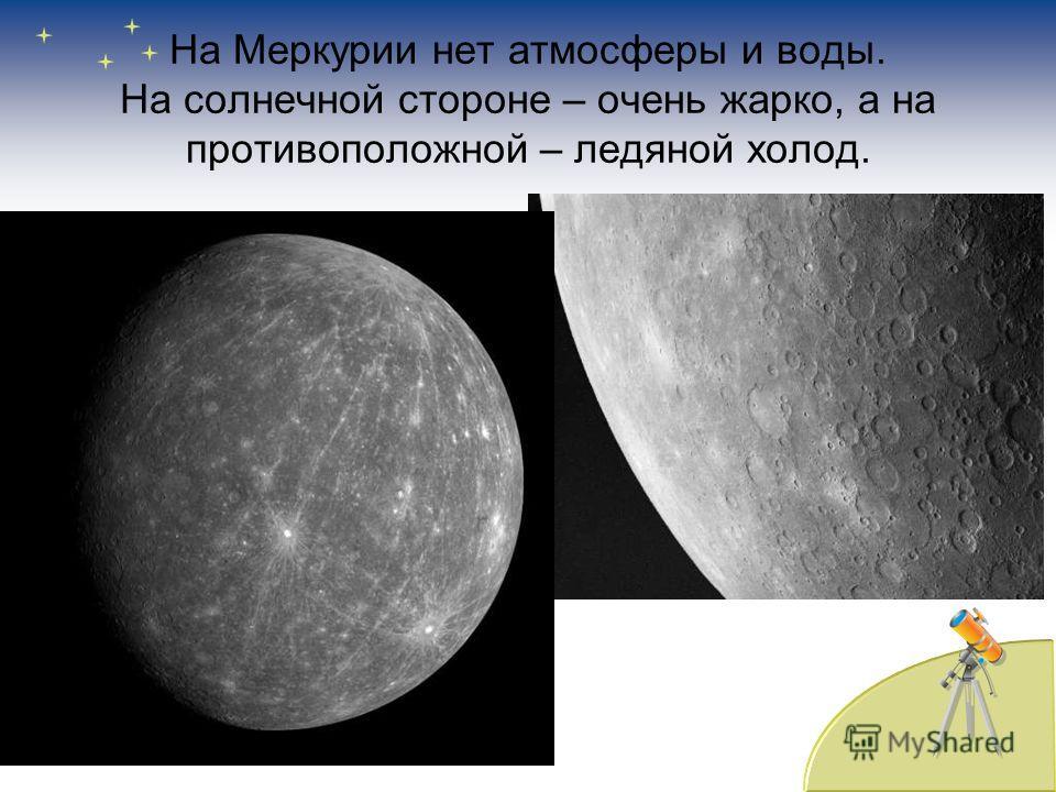 На Меркурии нет атмосферы и воды. На солнечной стороне – очень жарко, а на противоположной – ледяной холод.