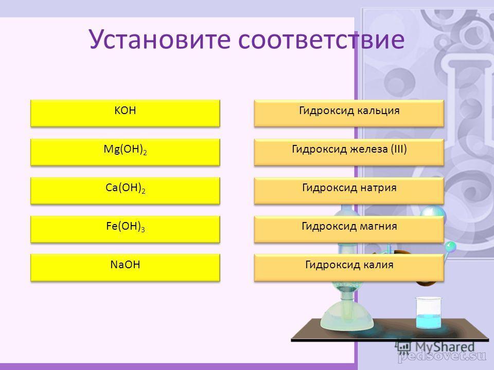 Установите соответствие KOH Mg(OH) 2 Ca(OH) 2 Fe(OH) 3 NaOH Гидроксид кальция Гидроксид железа (III) Гидроксид натрия Гидроксид магния Гидроксид калия