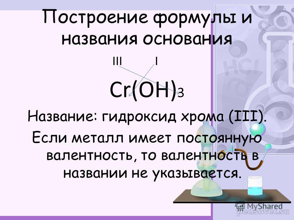 Построение формулы и названия основания III I Сr(OH) 3 Название: гидроксид хрома (III). Если металл имеет постоянную валентность, то валентность в названии не указывается.