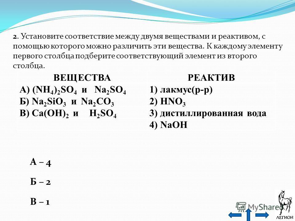 2. Установите соответствие между двумя веществами и реактивом, с помощью которого можно различить эти вещества. К каждому элементу первого столбца подберите соответствующий элемент из второго столбца. ВЕЩЕСТВАРЕАКТИВ А) (NH 4 ) 2 SO 4 и Na 2 SO 4 1)