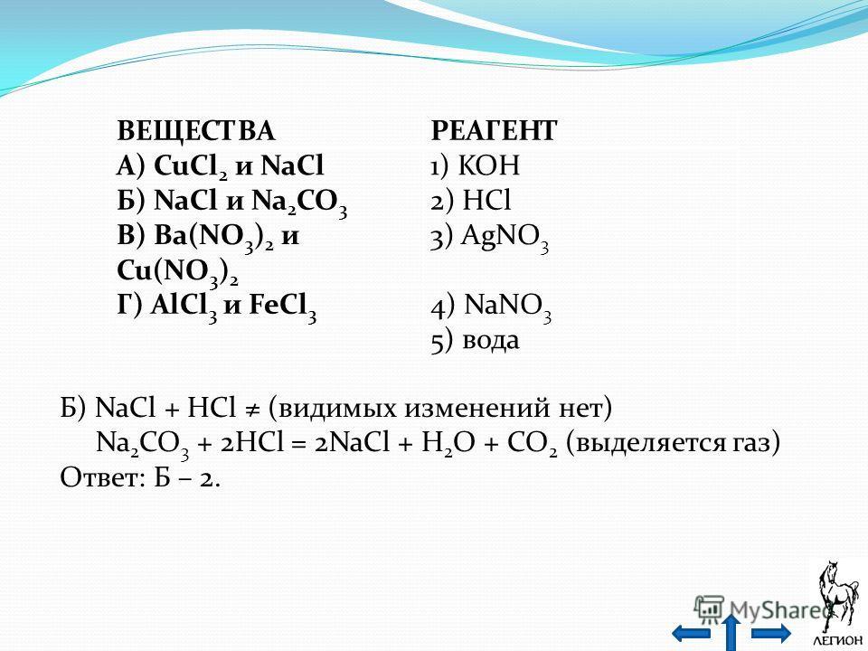 ВЕЩЕСТВАРЕАГЕНТ А) CuCl 2 и NaCl1) KOH Б) NaCl и Na 2 CO 3 2) HCl В) Ba(NO 3 ) 2 и Cu(NO 3 ) 2 3) AgNO 3 Г) AlCl 3 и FeCl 3 4) NaNO 3 5) вода Б) NaCl + HCl (видимых изменений нет) Na 2 CO 3 + 2HCl = 2NaCl + H 2 O + CO 2 (выделяется газ) Ответ: Б – 2.