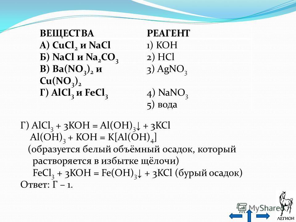 ВЕЩЕСТВАРЕАГЕНТ А) CuCl 2 и NaCl1) KOH Б) NaCl и Na 2 CO 3 2) HCl В) Ba(NO 3 ) 2 и Cu(NO 3 ) 2 3) AgNO 3 Г) AlCl 3 и FeCl 3 4) NaNO 3 5) вода Г) AlCl 3 + 3KOH = Al(OH) 3 + 3KCl Al(OH) 3 + KOH = K[Al(OH) 4 ] (образуется белый объёмный осадок, который