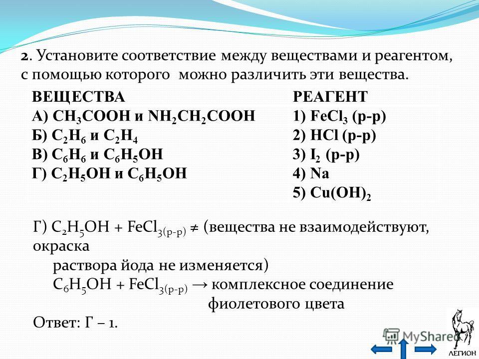 2. Установите соответствие между веществами и реагентом, с помощью которого можно различить эти вещества. ВЕЩЕСТВАРЕАГЕНТ А) CH 3 COOH и NH 2 CH 2 COOH1) FeCl 3 (р-р) Б) C 2 H 6 и C 2 H 4 2) HCl (р-р) В) C 6 H 6 и C 6 H 5 OH3) I 2 (р-р) Г) C 2 H 5 O