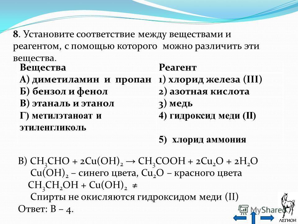 8. Установите соответствие между веществами и реагентом, с помощью которого можно различить эти вещества. В) CH 3 CHO + 2Cu(OH) 2 CH 3 COOH + 2Cu 2 O + 2H 2 O Cu(OH) 2 – синего цвета, Cu 2 O – красного цвета CH 3 CH 2 OH + Cu(OH) 2 Спирты не окисляют