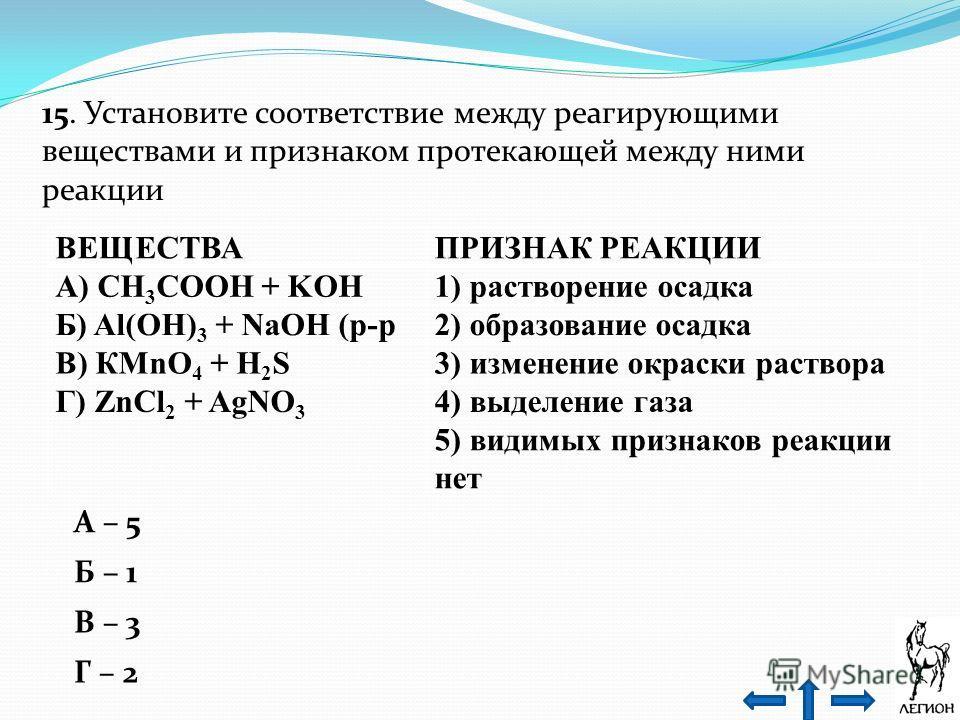 15. Установите соответствие между реагирующими веществами и признаком протекающей между ними реакции ВЕЩЕСТВАПРИЗНАК РЕАКЦИИ А) СН 3 СООН + KOH1) растворение осадка Б) Al(OH) 3 + NaОН (р-р 2) образование осадка В) КМnO 4 + H 2 S3) изменение окраски р