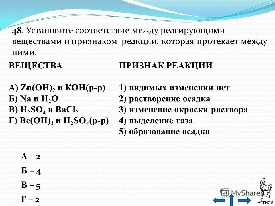 48. Установите соответствие между реагирующими веществами и признаком реакции, которая протекает между ними. ВЕЩЕСТВА ПРИЗНАК РЕАКЦИИ А) Zn(OH) 2 и КОН(р-р)1) видимых изменении нет Б) Na и Н 2 O2) растворение осадка В) H 2 SO 4 и ВаСl 2 3) изменение