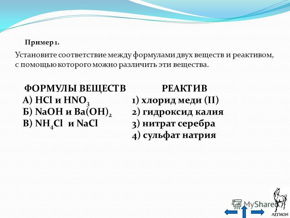 Пример 1. Установите соответствие между формулами двух веществ и реактивом, с помощью которого можно различить эти вещества. ФОРМУЛЫ ВЕЩЕСТВРЕАКТИВ А) HCl и HNO 3 1) хлорид меди (II) Б) NaOH и Ba(OH) 2 2) гидроксид калия В) NH 4 Cl и NaCl3) нитрат се