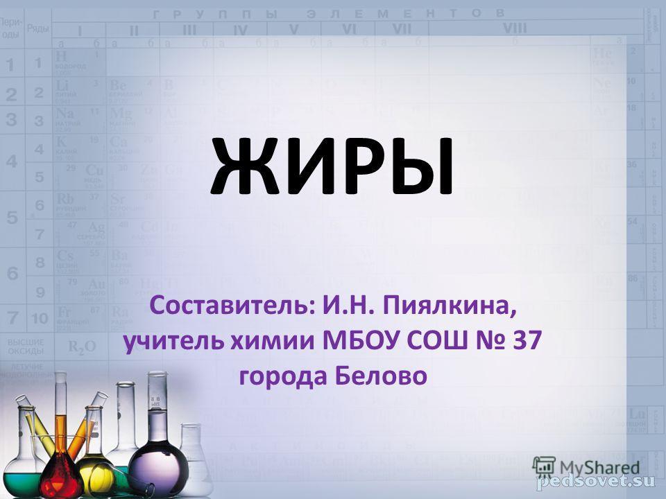 ЖИРЫ Составитель: И.Н. Пиялкина, учитель химии МБОУ СОШ 37 города Белово