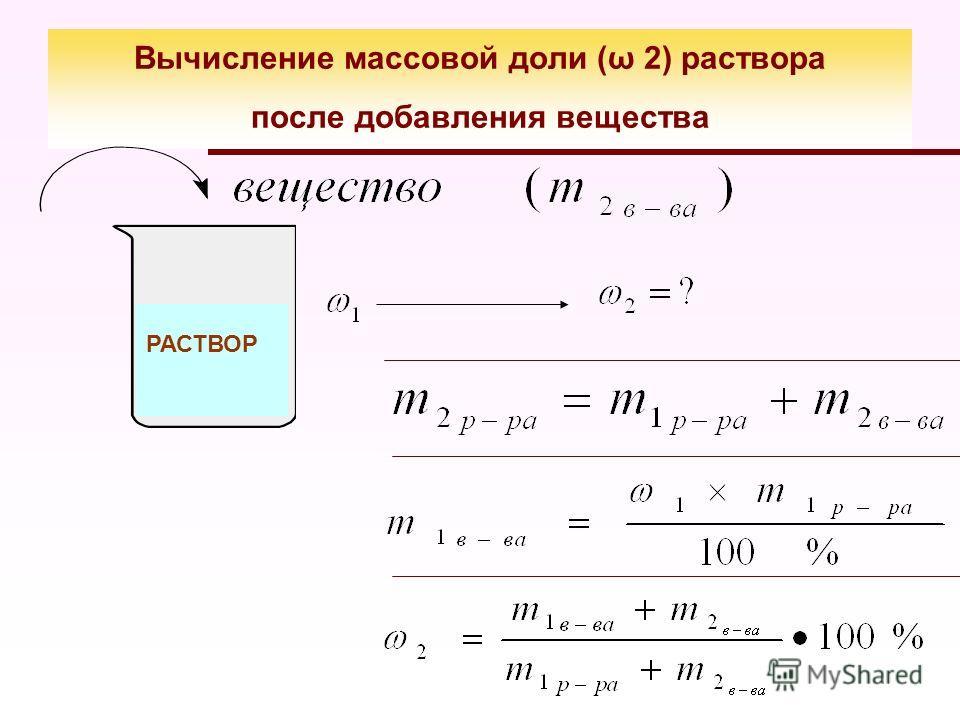 Вычисление массовой доли (ω 2) раствора после добавления вещества РАСТВОР