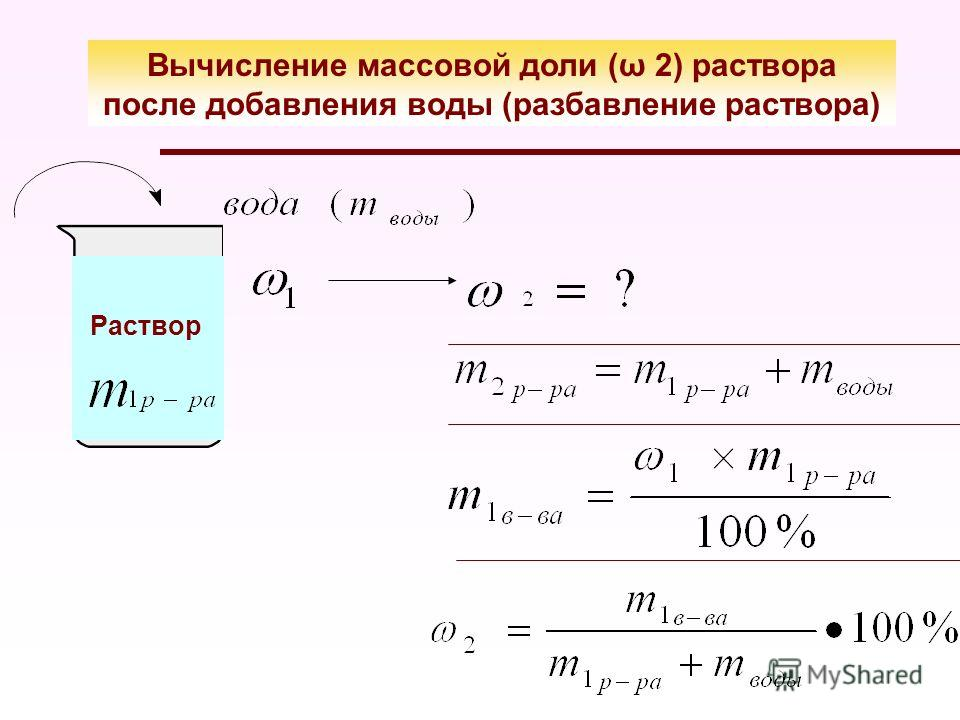 Вычисление массовой доли (ω 2) раствора после добавления воды (разбавление раствора) Раствор