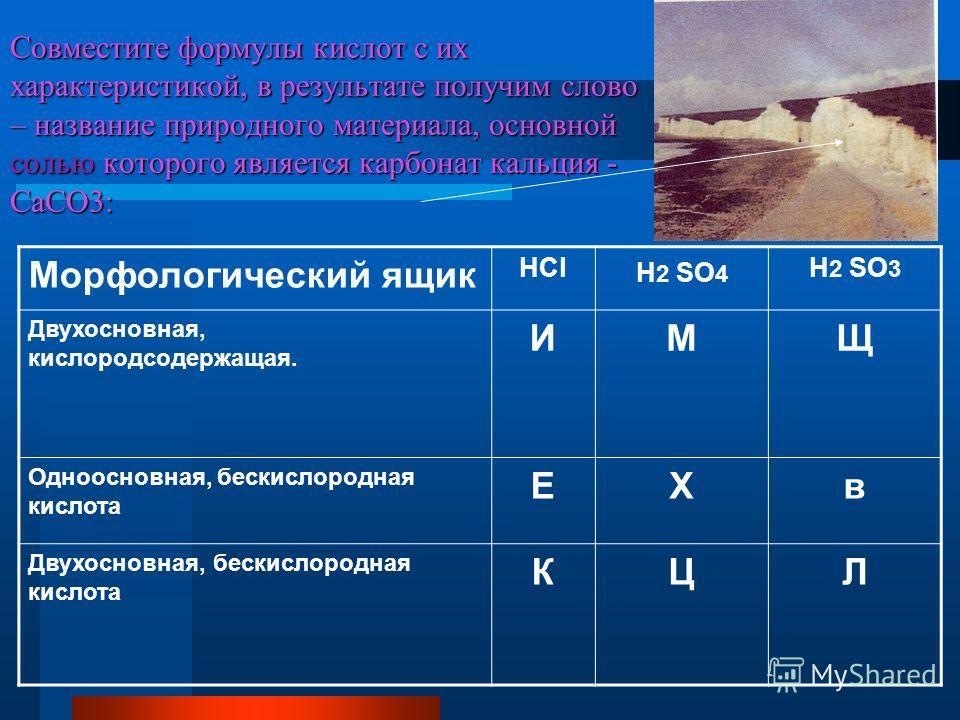 Совместите формулы кислот с их характеристикой, в результате получим слово – название природного материала, основной солью которого является карбонат кальция - CaCO3: Морфологический ящик HCl H 2 SO 4 H 2 SO 3 Двухосновная, кислородсодержащая. ИМЩ Од