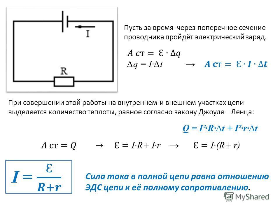Пусть за время через поперечное сечение проводника пройдёт электрический заряд. При совершении этой работы на внутреннем и внешнем участках цепи выделяется количество теплоты, равное согласно закону Джоуля – Ленца: Q = I²Rt + I²rt Cила тока в полной