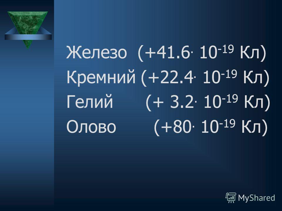Железо (+41.6. 10 -19 Кл) Кремний (+22.4. 10 -19 Кл) Гелий (+ 3.2. 10 -19 Кл) Олово (+80. 10 -19 Кл)
