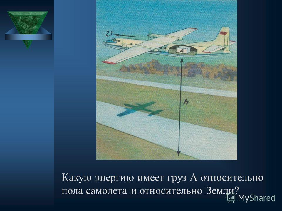 Какую энергию имеет груз А относительно пола самолета и относительно Земли?