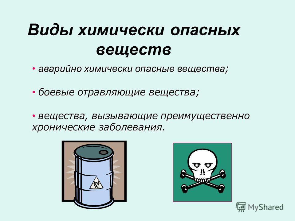 аварийно химически опасные вещества ; аварийно химически опасные вещества ; боевые отравляющие вещества; боевые отравляющие вещества; вещества, вызывающие преимущественно хронические заболевания. вещества, вызывающие преимущественно хронические забол