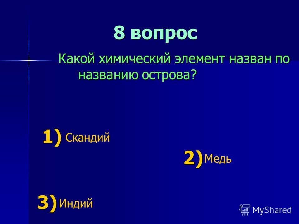 8 вопрос 8 вопрос Какой химический элемент назван по названию острова? 1) 1) Скандий 2) 2) Медь 3) 3) Индий