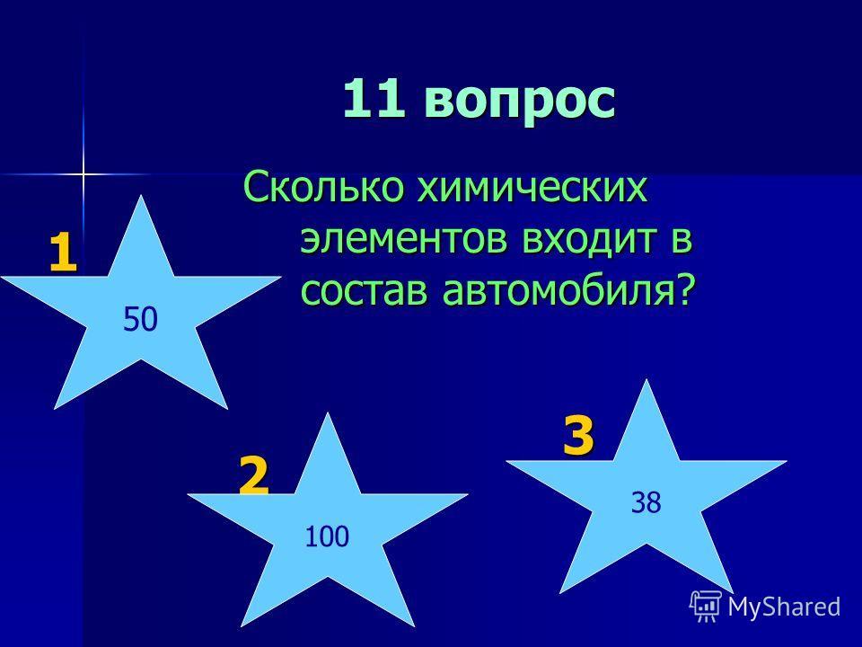 11 вопрос 11 вопрос Сколько химических элементов входит в состав автомобиля? 1 1 2 2 3 3 100 38 50