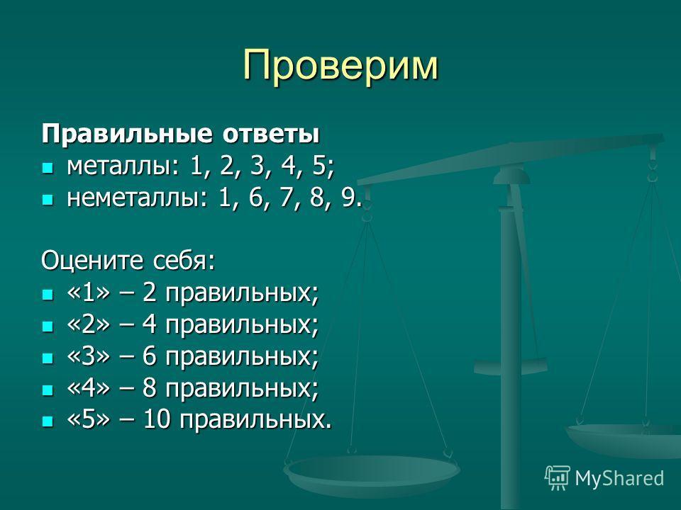 Проверим Правильные ответы металлы: 1, 2, 3, 4, 5; металлы: 1, 2, 3, 4, 5; неметаллы: 1, 6, 7, 8, 9. неметаллы: 1, 6, 7, 8, 9. Оцените себя: «1» – 2 правильных; «1» – 2 правильных; «2» – 4 правильных; «2» – 4 правильных; «3» – 6 правильных; «3» – 6 п