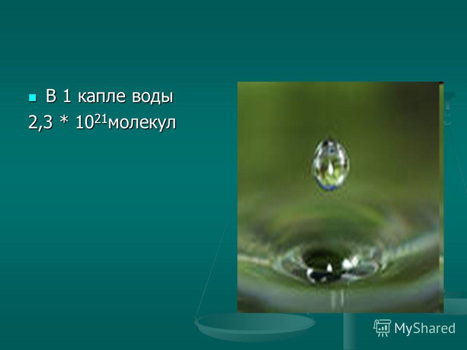 В 1 капле воды В 1 капле воды 2,3 * 10 21 молекул