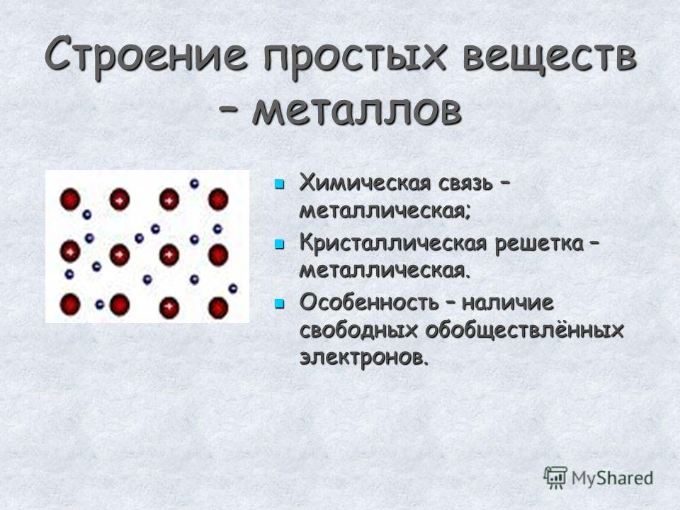 Строение простых веществ – металлов Химическая связь – металлическая; Химическая связь – металлическая; Кристаллическая решетка – металлическая. Кристаллическая решетка – металлическая. Особенность – наличие свободных обобществлённых электронов. Особ