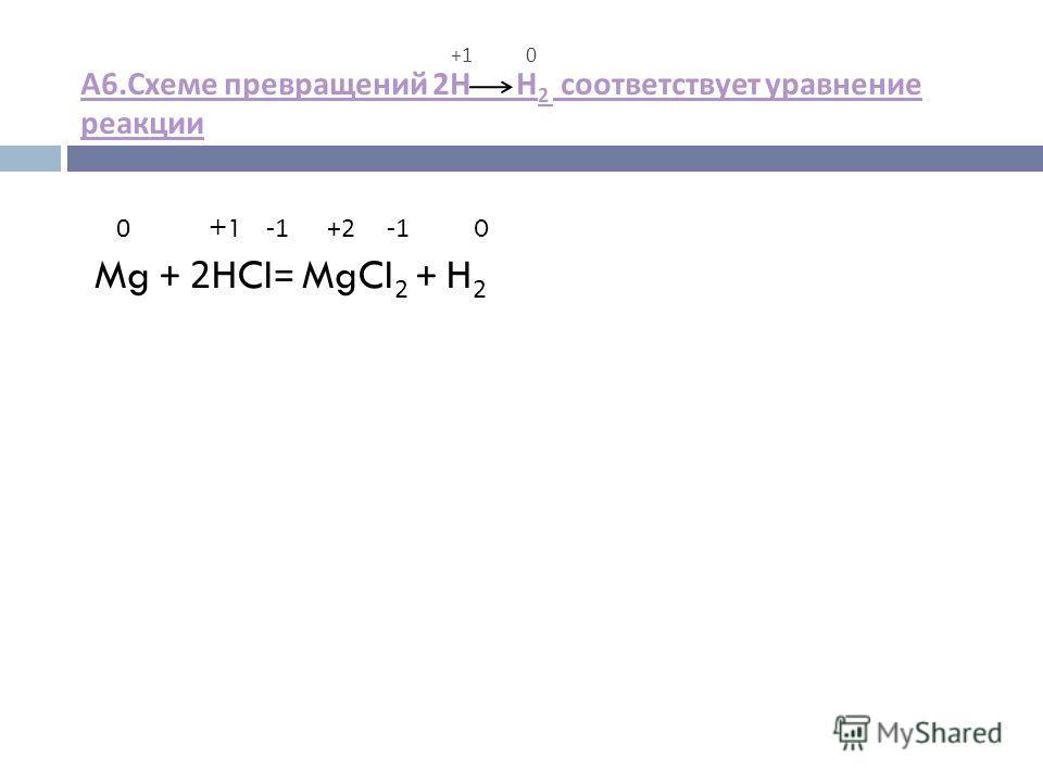 +1 0 А 6. Схеме превращений 2 Н Н 2 соответствует уравнение реакции А 6. Схеме превращений 2 Н Н 2 соответствует уравнение реакции 0 +1 -1 +2 -1 0 Mg + 2HCI= MgCI 2 + H 2