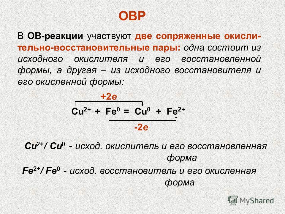 В ОВ-реакции участвуют две сопряженные окислительно-восстановительные пары: одна состоит из исходного окислителя и его восстановленной формы, а другая – из исходного восстановителя и его окисленной формы: ОВР Сu 2+ + Fe 0 = Cu 0 + Fe 2+ +2e -2e Сu 2+