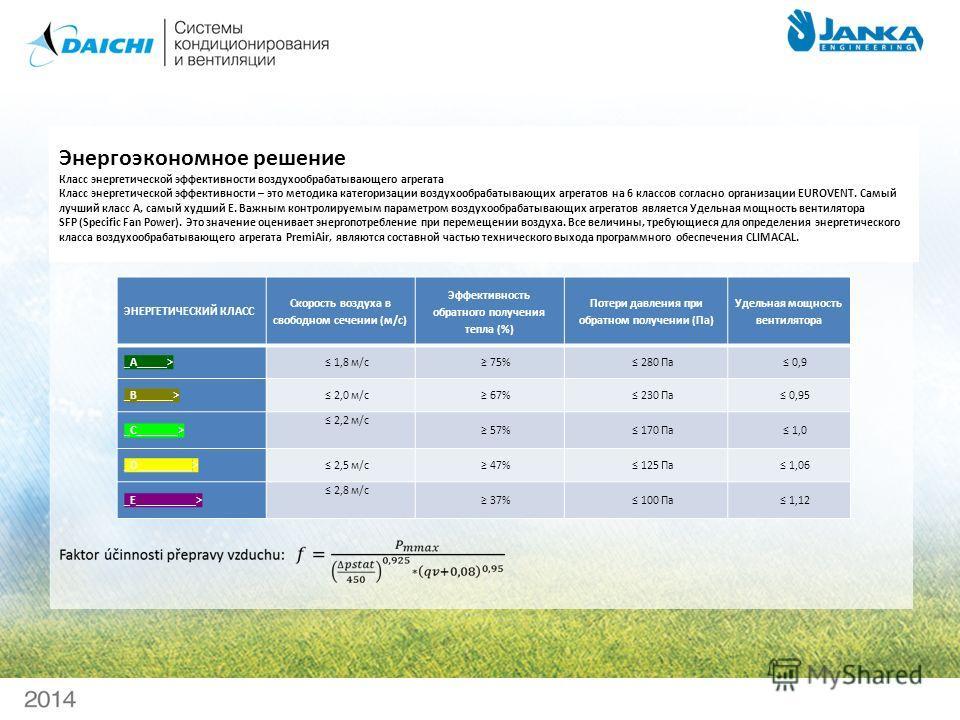 Энергоэкономное решение Класс энергетической эффективности воздухо обрабатывающего агрегата Класс энергетической эффективности – это методика категоризации воздухо обрабатывающих агрегатов на 6 классов согласно организации EUROVENT. Самый лучший клас