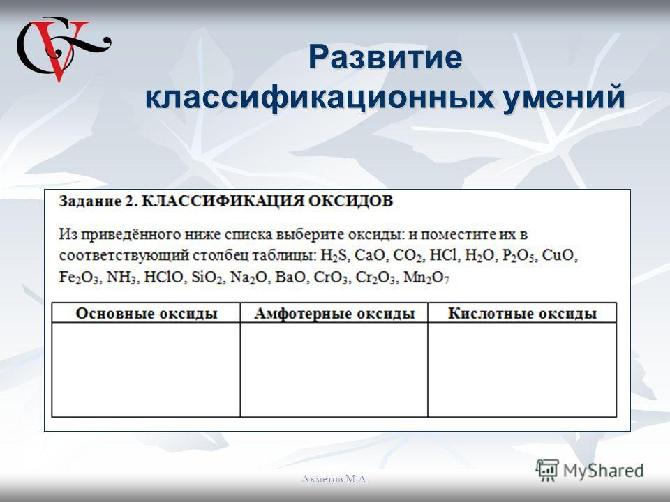 Развитие классификационных умений Ахметов М.А.