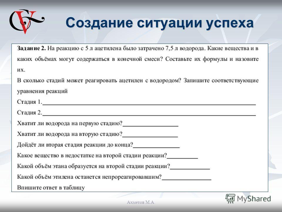 Создание ситуации успеха Ахметов М.А.