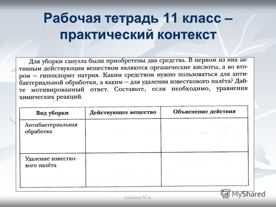 Рабочая тетрадь 11 класс – практический контекст Ахметов М.А.