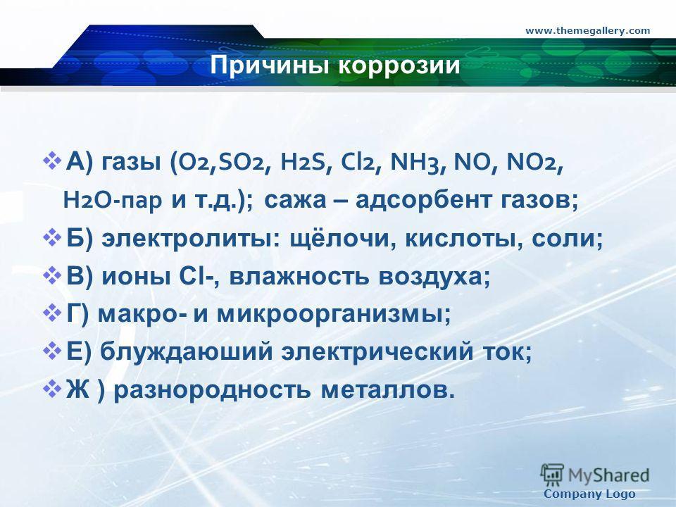 www.themegallery.com Company Logo Причины коррозии А) газы ( O2,SO2, H2S, Cl2, NH3, NO, NO2, H2O-пар и т.д.); сажа – адсорбент газов; Б) электролиты: щёлочи, кислоты, соли; В) ионы Сl-, влажность воздуха; Г) макро- и микроорганизмы; Е) блуждающий эле