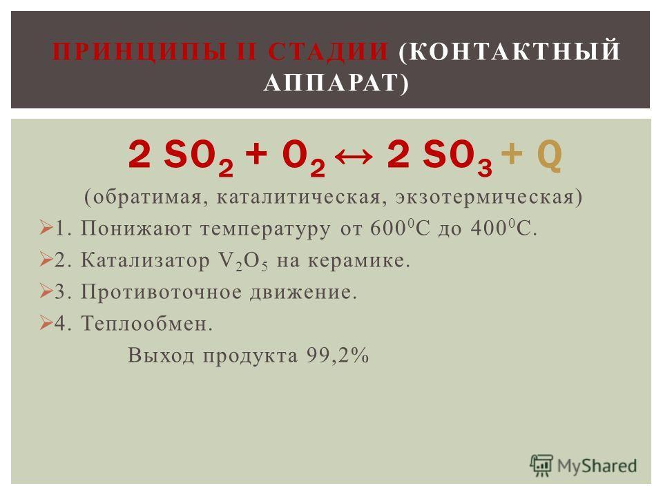 2 SO 2 + O 2 2 SO 3 + Q (обратимая, каталитическая, экзотермическая) 1. Понижают температуру от 600 0 С до 400 0 С. 2. Катализатор V 2 O 5 на керамике. 3. Противоточное движение. 4. Теплообмен. Выход продукта 99,2% ПРИНЦИПЫ II СТАДИИ (КОНТАКТНЫЙ АППА