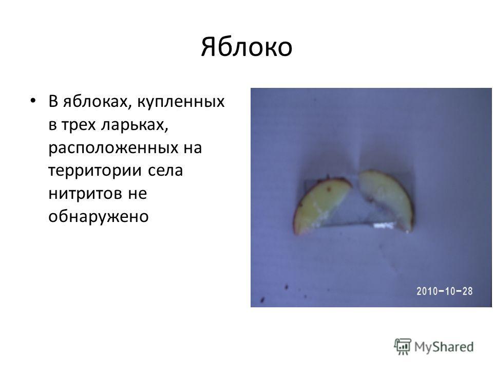 Яблоко В яблоках, купленных в трех ларьках, расположенных на территории села нитритов не обнаружено