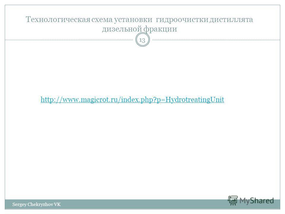 Технологическая схема установки гидроочистки дистиллята дизельной фракции http://www.magicrot.ru/index.php?p=HydrotreatingUnit 13 Sergey Chekryzhov VK