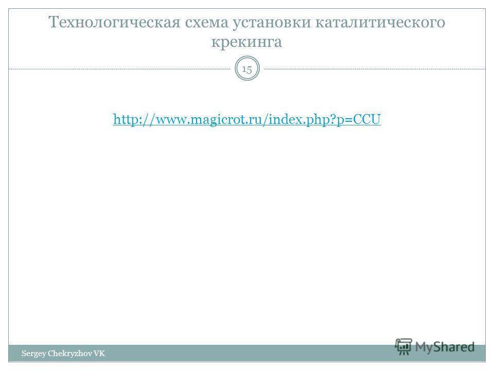 Технологическая схема установки каталитического крекинга http://www.magicrot.ru/index.php?p=CCU 15 Sergey Chekryzhov VK