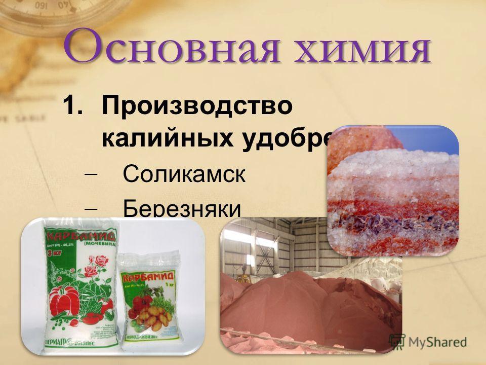 Основная химия 1. Производство калийных удобрений Соликамск Березняки