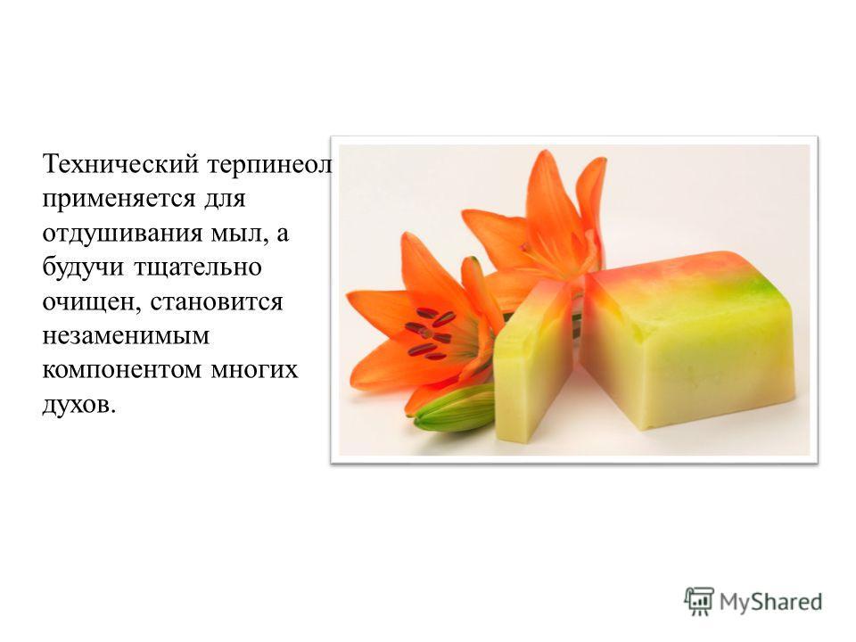 Технический терпенеол применяется для отдушивания мыл, а будучи тщательно очищен, становится незаменимым компонентом многих духов.