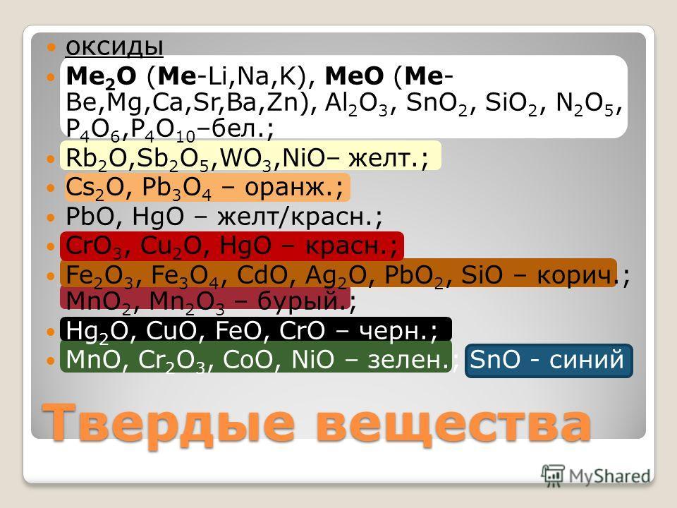 оксиды Ме 2 О (Ме-Li,Na,K), MeO (Me- Be,Mg,Ca,Sr,Ba,Zn), Al 2 O 3, SnO 2, SiO 2, N 2 O 5, P 4 O 6,P 4 O 10 –бел.; Rb 2 O,Sb 2 O 5,WO 3,NiO– желт.; Cs 2 O, Pb 3 O 4 – оранж.; PbO, HgO – желт/красно.; CrO 3, Cu 2 O, HgO – красно.; Fe 2 O 3, Fe 3 O 4, C