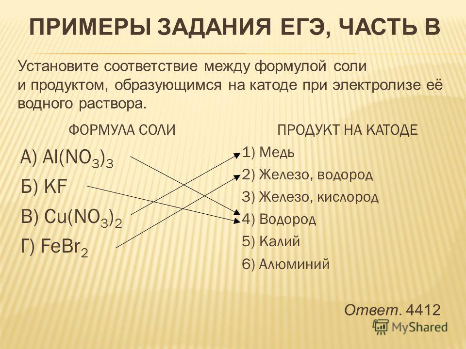 ФОРМУЛА СОЛИ А) Al(NO 3 ) 3 Б) KF В) Cu(NO 3 ) 2 Г) FeBr 2 ПРОДУКТ НА КАТОДЕ 1) Медь 2) Железо, водород 3) Железо, кислород 4) Водород 5) Калий 6) Алюминий ПРИМЕРЫ ЗАДАНИЯ ЕГЭ, ЧАСТЬ В Установите соответствие между формулой соли и продуктом, образующ