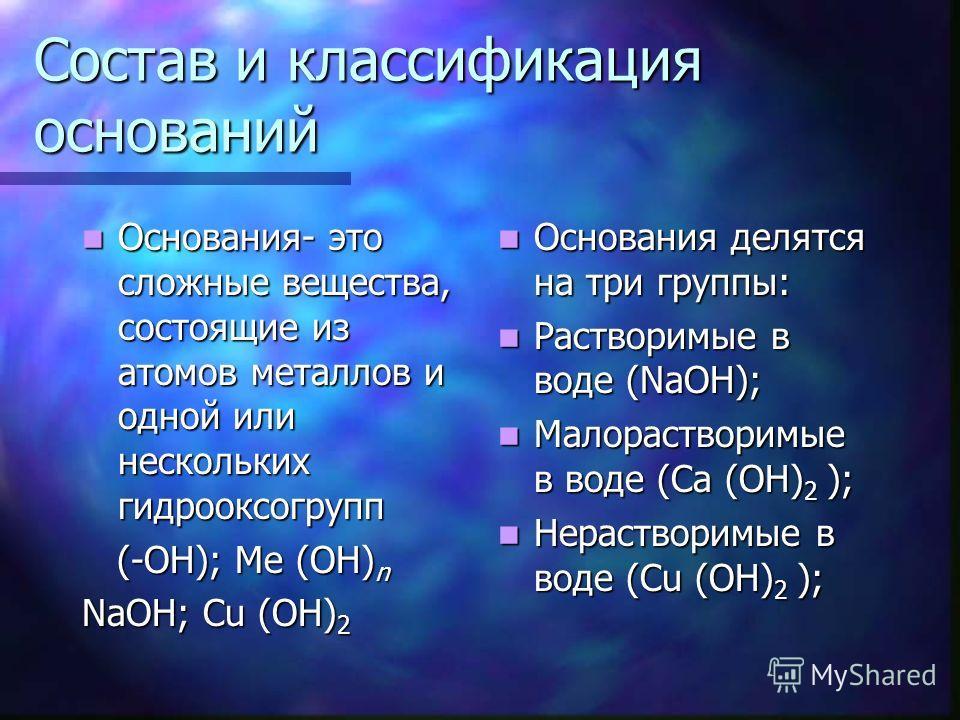 Состав и классификация оснований Основания- это сложные вещества, состоящие из атомов металлов и одной или нескольких гидрооксогрупп Основания- это сложные вещества, состоящие из атомов металлов и одной или нескольких гидрооксогрупп (-ОН); Ме (ОН) n