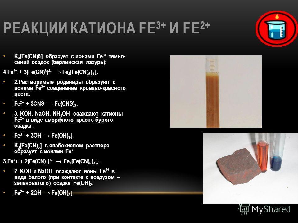 РЕАКЦИИ КАТИОНА FE 3+ И FE 2+ K 4 [Fe(CN)6] образует с ионами Fe 3+ темно- синий осадок (берлинская лазурь): 4 Fe 3+ + 3[Fe(CN) 6 ] 4- Fe 4 [Fe(CN) 6 ] 3. 2. Растворимые роданиды образуют с ионами Fe 3+ соединение кроваво-красного цвета: Fe 3+ + 3CNS