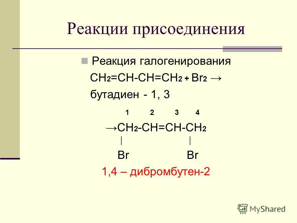 Реакции присоединения Реакция галогенирования CH 2 =CH-CH=CH 2 + Br 2 бутадиен - 1, 3 1 2 3 4 CH 2 -CH=CH-CH 2 Br Br 1,4 – дибромбутен-2