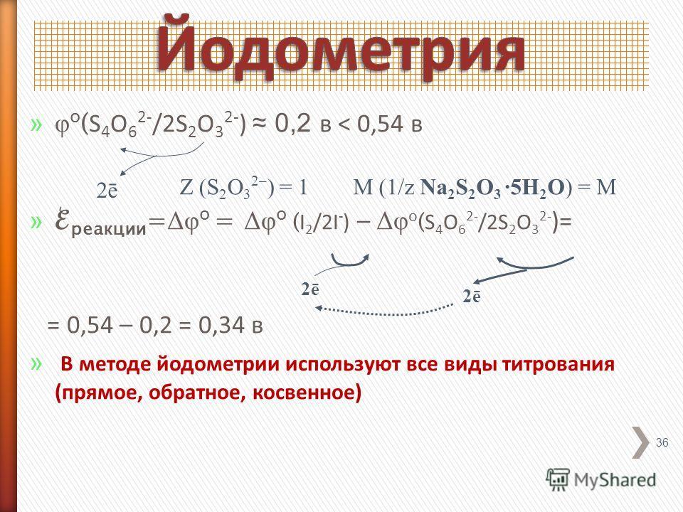 » φ o ( S 4 O 6 2- /2S 2 O 3 2- ) 0,2 в < 0,54 в » реакции = Δφ o = Δφ o ( I 2 /2I - ) – Δφ o ( S 4 O 6 2- /2S 2 O 3 2- )= = 0,54 – 0,2 = 0,34 в » В методе йодометрии используют все виды титрования (прямое, обратное, косвенное) 36 2ē2ē 2ē2ē 2ē2ē Z (S
