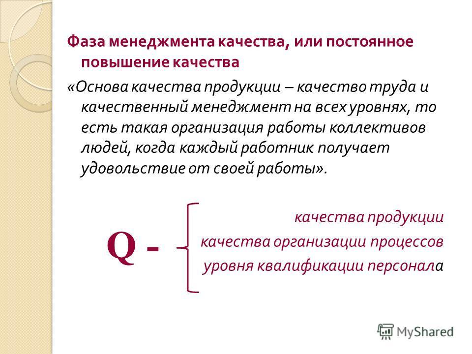 Фаза менеджмента качества, или постоянное повышение качества « Основа качества продукции – качество труда и качественный менеджмент на всех уровнях, то есть такая организация работы коллективов людей, когда каждый работник получает удовольствие от св