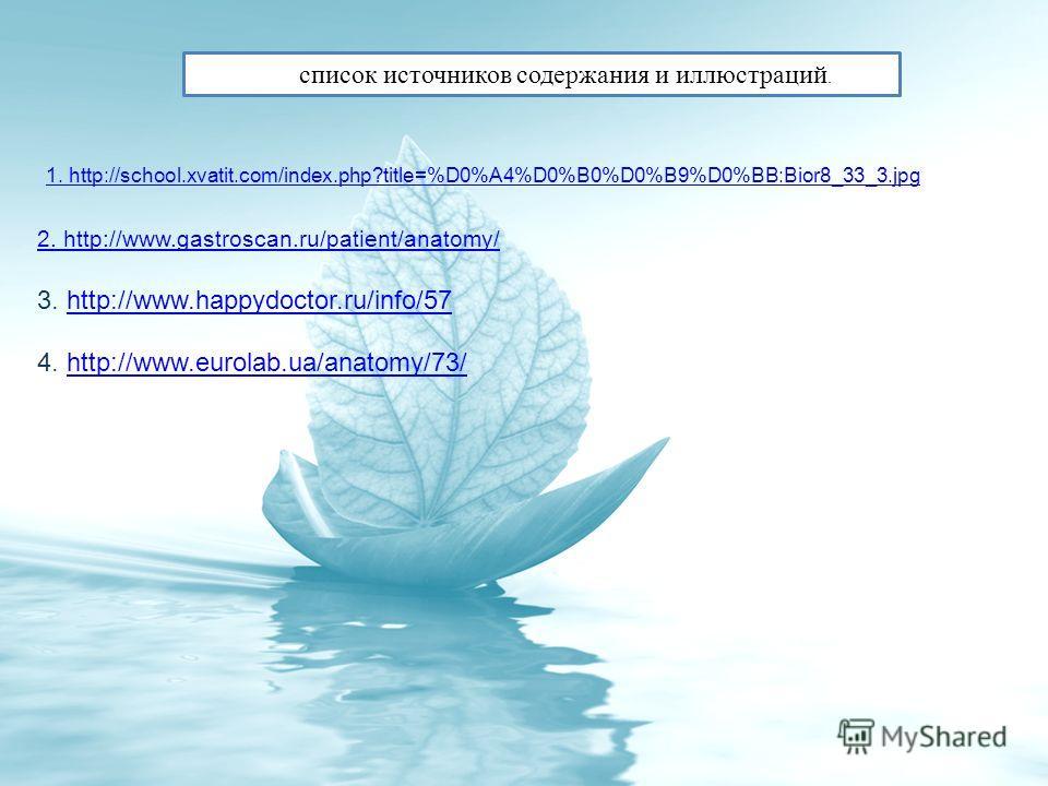 1. http://school.xvatit.com/index.php?title=%D0%A4%D0%B0%D0%B9%D0%BB:Bior8_33_3. jpg 2. http://www.gastroscan.ru/patient/anatomy/ 3. http://www.happydoctor.ru/info/57http://www.happydoctor.ru/info/57 4. http://www.eurolab.ua/anatomy/73/http://www.eur