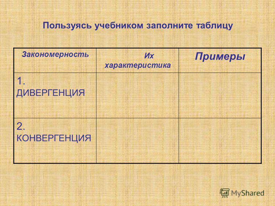 Пользуясь учебником заполните таблицу Закономерность Их характеристика Примеры 1. ДИВЕРГЕНЦИЯ 2. КОНВЕРГЕНЦИЯ