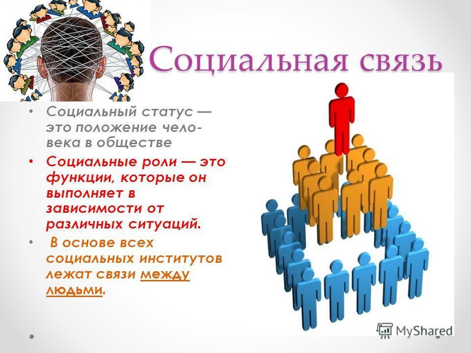 Социальная связь Социальный статус это положение чело века в обществе Социальные роли это функции, которые он выполняет в зависимости от различных ситуаций. В основе всех социальных институтов лежат связи между людьми.