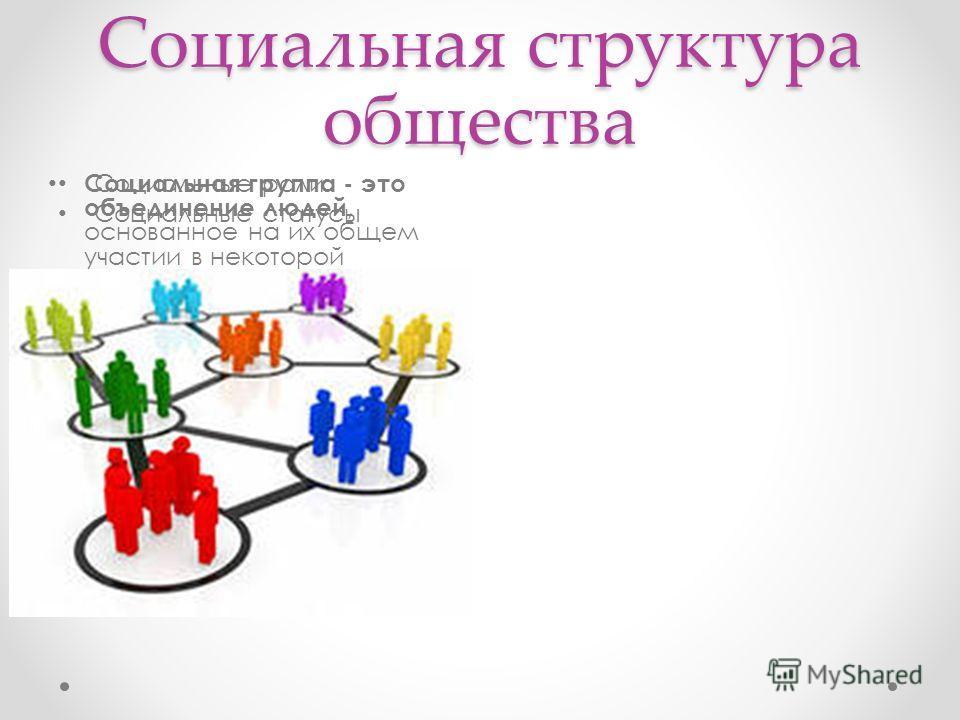 Социальная структура общества Социальные роли Социальные статусы Социальная группа - это объединение людей, основанное на их общем участии в некоторой деятельности, связанное системой отношений, которые регулируются формальными или неформальными соци