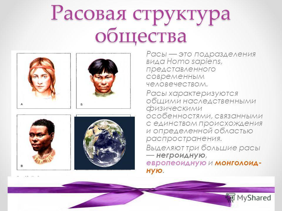 Расовая структура общества Расы это подразделения вида Homo sapiens, представленного современным человечеством. Расы характеризуются общими наследственными физическими особенностями, связанными с единством происхождения и определенной областью распро
