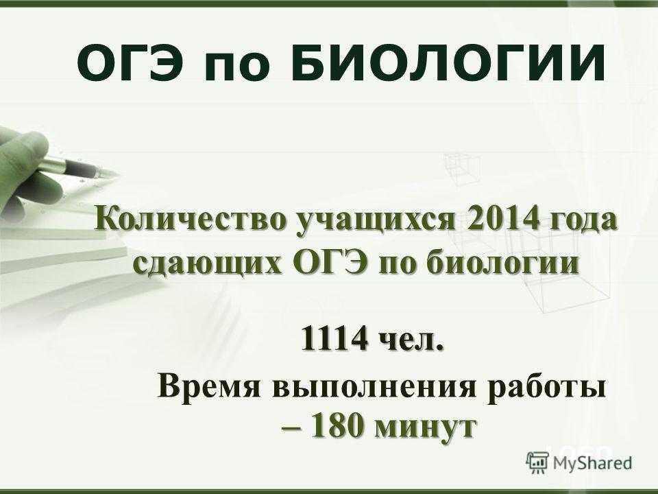 LOGO ОГЭ по БИОЛОГИИ Количество учащихся 2014 года сдающих ОГЭ по биологии 1114 чел. Время выполнения работы – 180 минут